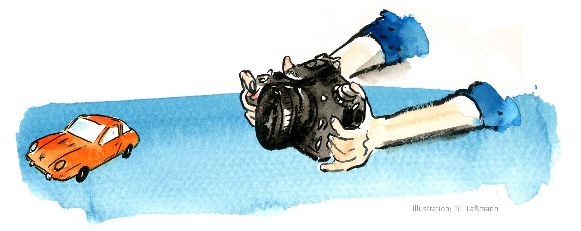 Automobilfotografie Eva Gieselberg Illustration von Till Laßmann